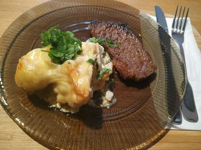 Beef sizzler steaks served with a salad or Cheesy Roasted Cauliflower