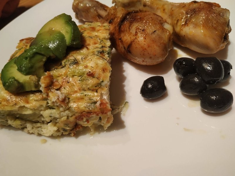 Greek style courgettes casserole with baked drumsticks Greek Style Courgette Casserole