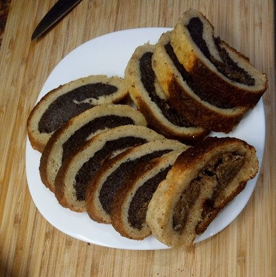 Freshly baked slices Poppy Seed Roll