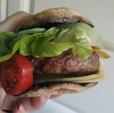 Just like a real burger with bun Flat Mushrooms Beef Burger