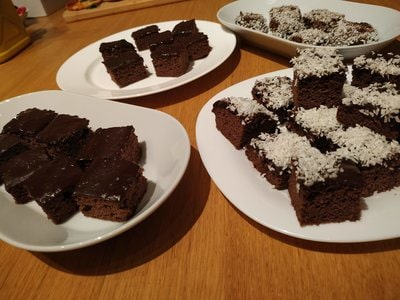 Coconut Brownies All baked cut and with sprinkle on top
