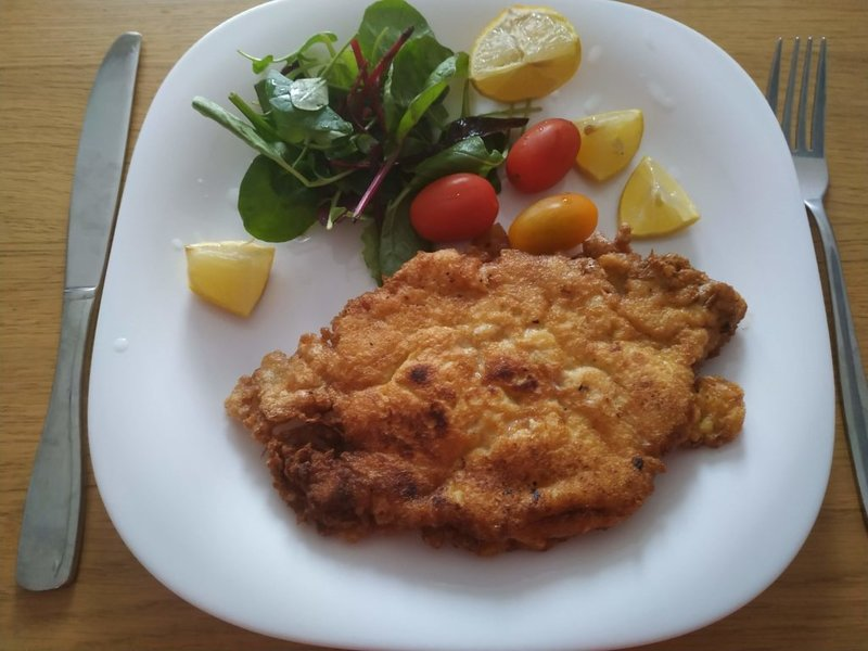German Pork Schnitzel with Coleslaw and veggies
