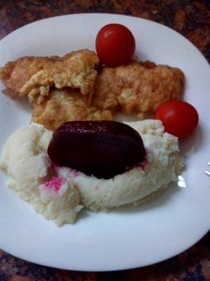Creamy Cauliflower Mash with German Chicken Schnitz